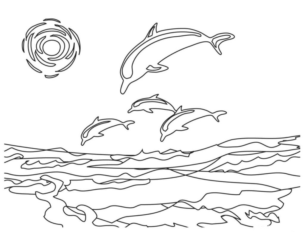 Dolphin Coloring Pages For Kids 1024x779