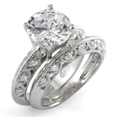 Round Cubic Zirconia Bridal Set Wedding Engagement Ring