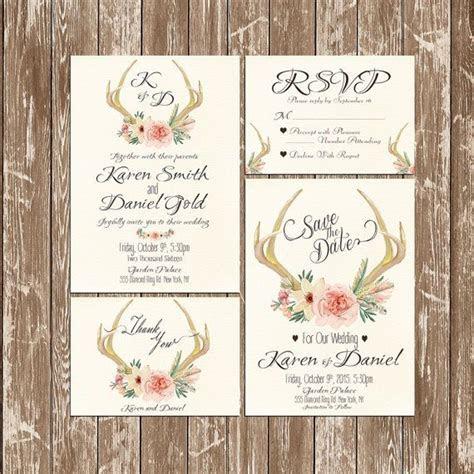 Invitation kit Deer Antler Wedding Invitation rustic
