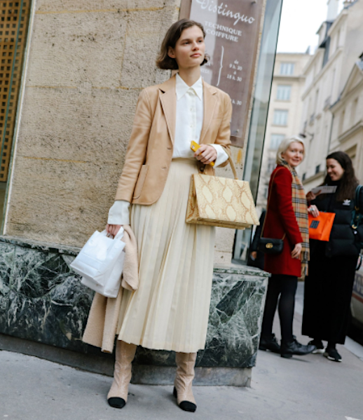 Le Fashion Blog Street Style  Camel  Blazer  White  Button  Down  Shirt  Cream  Pleated  Midi  Skirt Cap Toe Boots Via Vogue