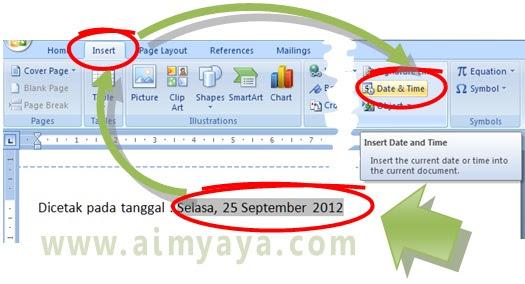 Gambar: Cara menyisipkan tanggal dan jam di dokumen  microsoft word