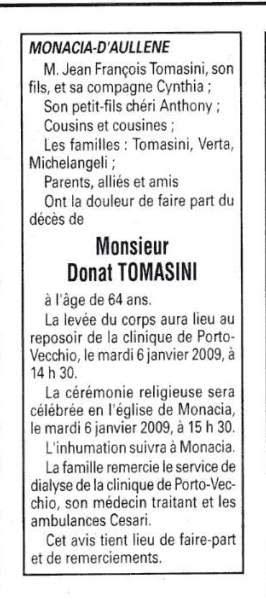 Décès Tomasini Donat