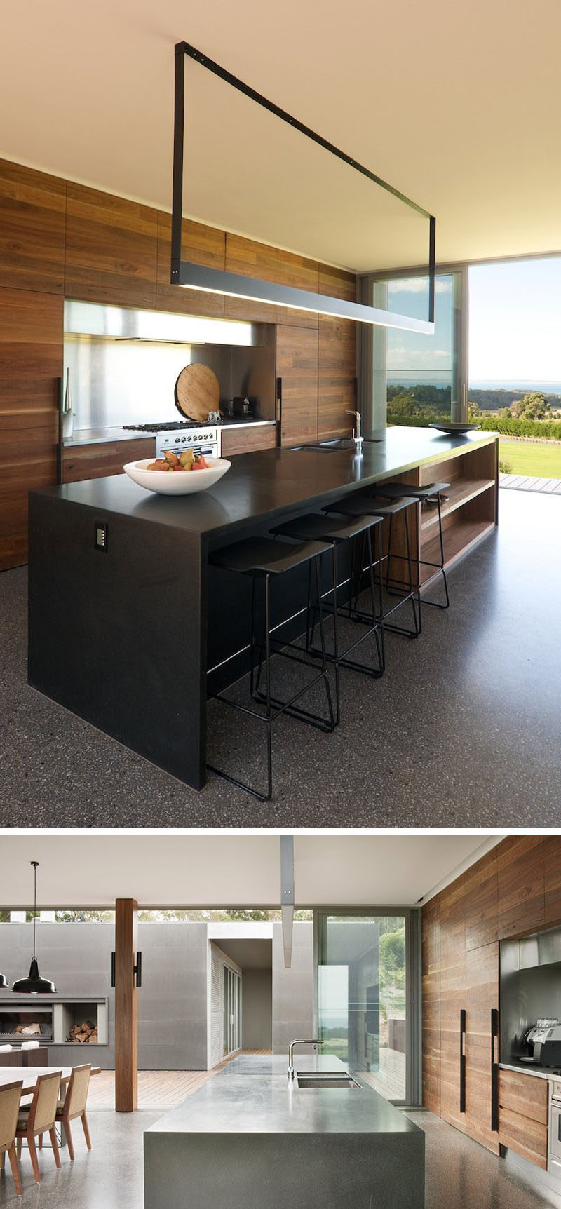 Kitchen Island Lighting Idea Use One Long Light Instead Of Multiple Pendant Lights CONTEMPORIST