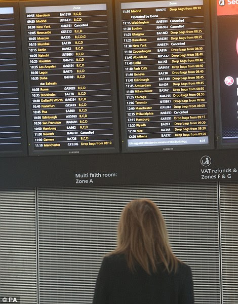 Airlines at at Heathrow Airport have had to cancel flights to the USA as Hurricane Sandy starts to hit the East Coast