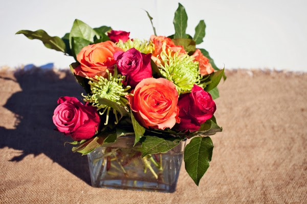 Orange-Pink-Green-Rose-Centerpiece