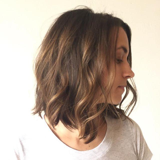 Romantic medium layered bob hairstyle with balayage and ...
