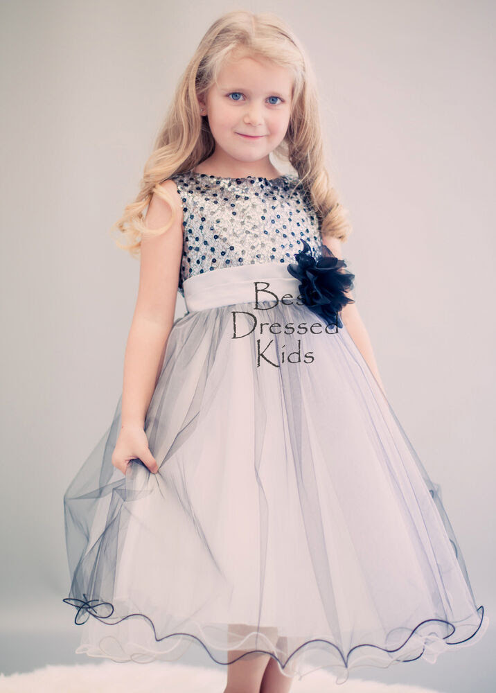 girls sequin party dress in silver  black tulle skirt