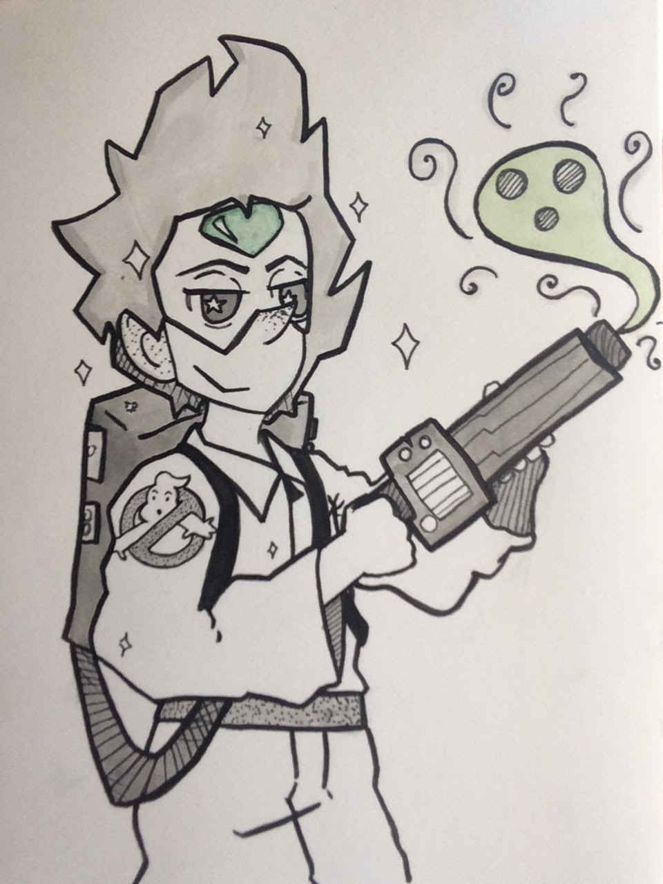 Inktober Day 5: Peridot as a Ghostbuster!