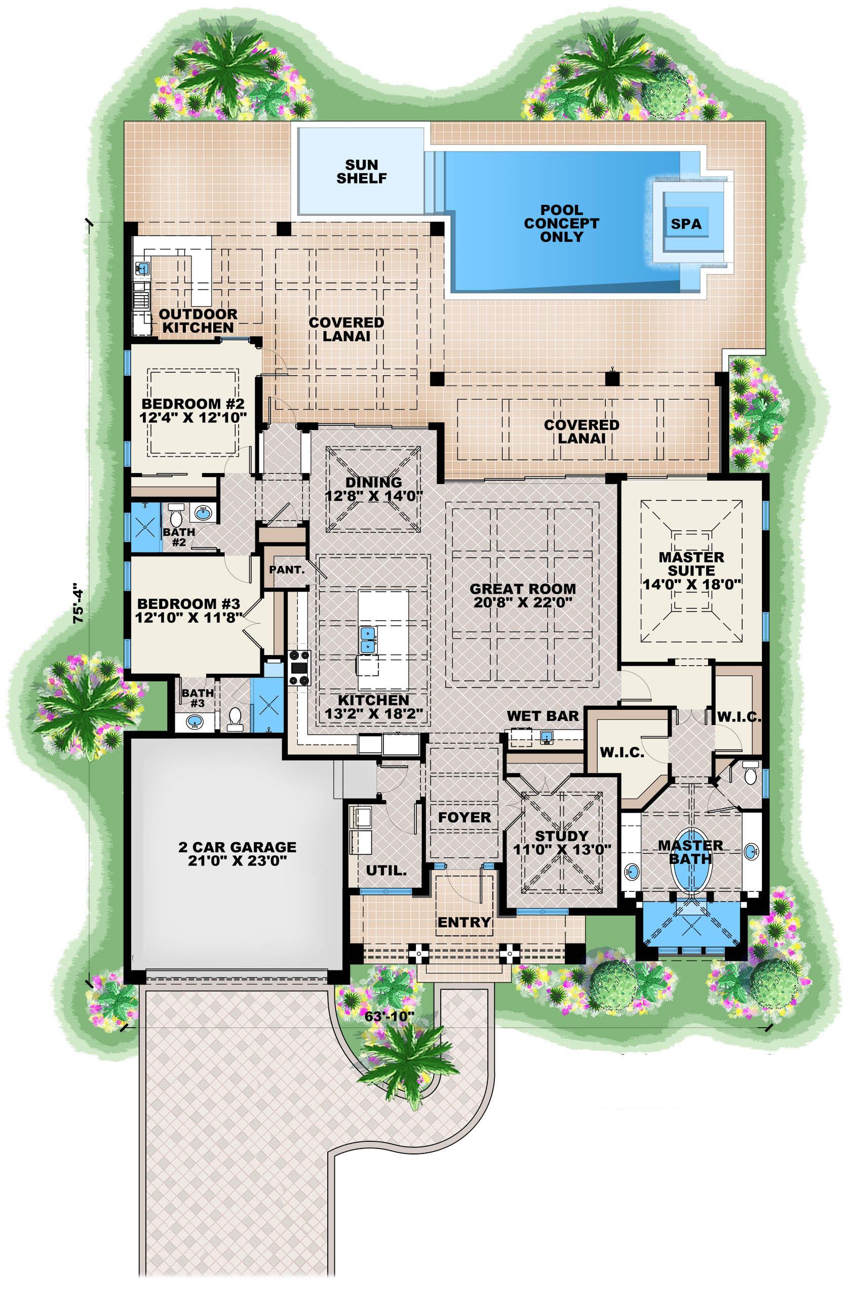 Contemporary House Plan 1751134: 3 Bedrm, 2684 Sq Ft Home Plan - Dramatic Contemporary Home Plan 90232PD Architectural Designs HousePlans