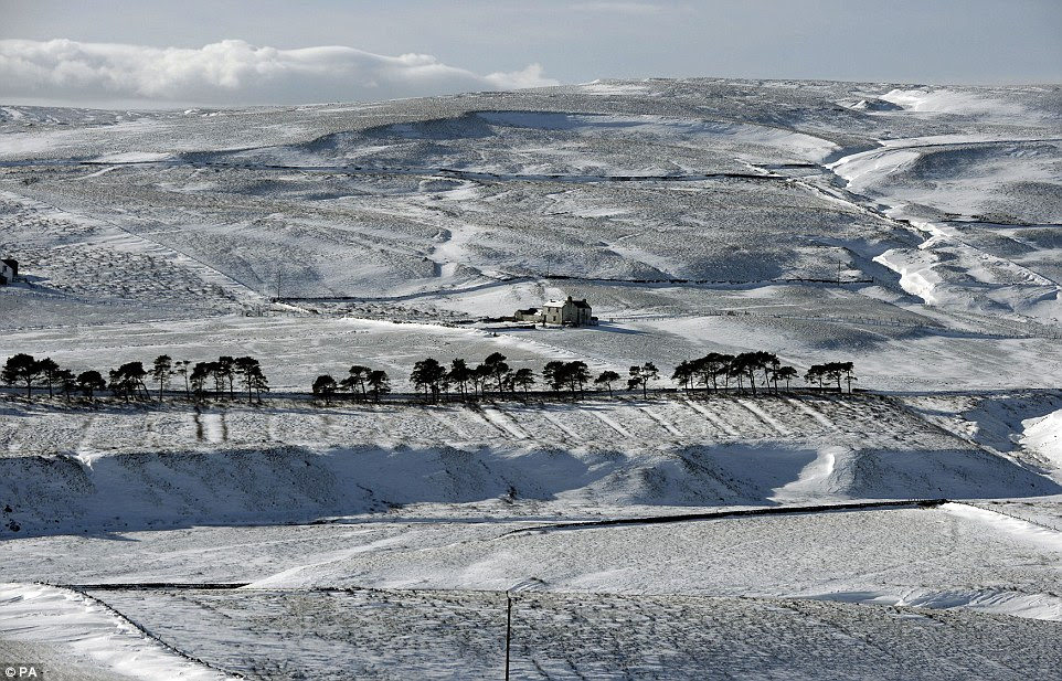 Barren: Temperatures in Teesdale were set to reach no more than 2C today meaning the snow that has already fallen is refusing to melt