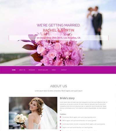 Wedding Free Website Template Design by WebThemez