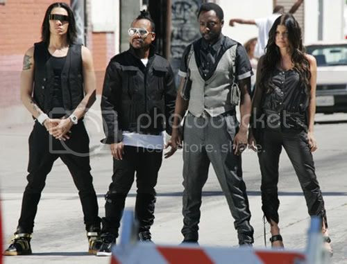 The Black eyed peas on the set of their music video for their single 'Meet me halfway'