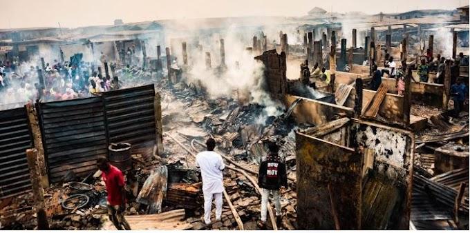 Sabo market on fire over 100 shops affected