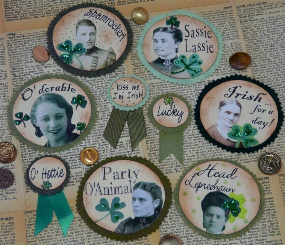 Shamrock ST. Patricks Day PINS Badges Collage Sheet -  lucky irish vintage pattern pdf altered  digital uprint primitive art paper old