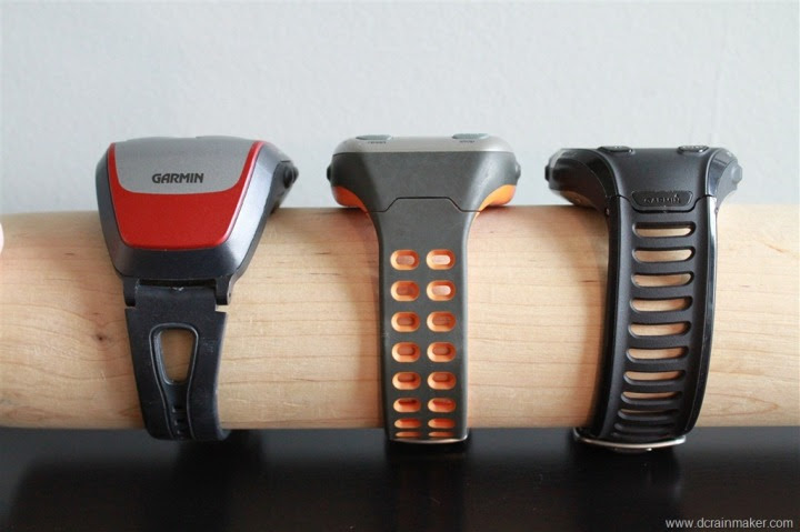 Garmin FR305, 310XT and FR910XT Size Comparison - side
