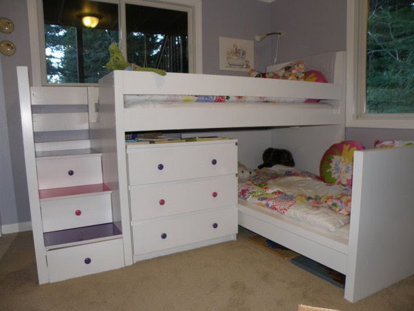 Malm Toddler Bed under Malm inspired Bunk: This bunk bed was made with two used Malm beds, and a used Malm dresser. I appreciated that it was so beautifully made with so much storage and the drawers stairs are perfect for kids who love climbing. See the details