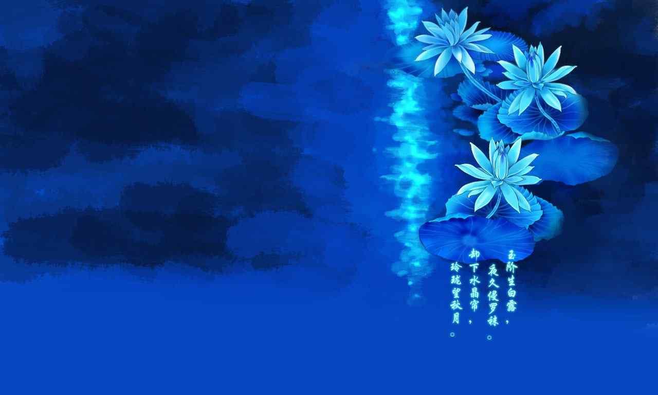 唯美蓝莲诗意桌面壁纸下载 手机壁纸 桌面天下手机版