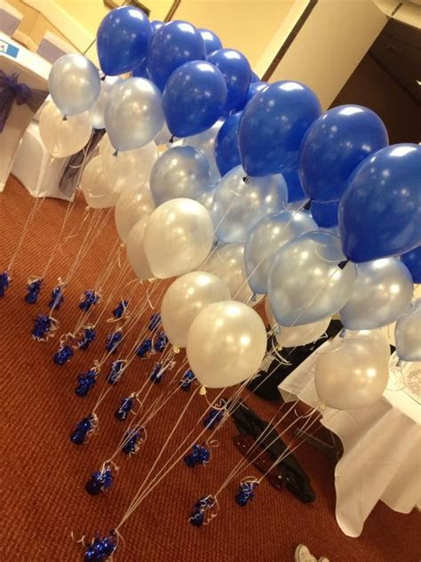 Royal Blue, silver and white ballons for wedding