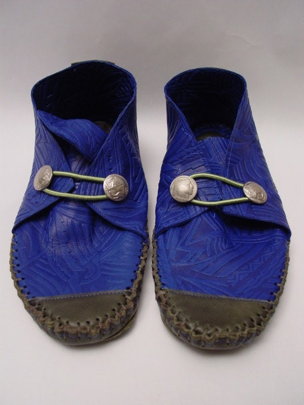23 TRIBES Custom and made to order - Blue embossed  Leather moccasins
