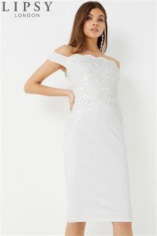 Lipsy sequin scallop bardot bodycon dress white