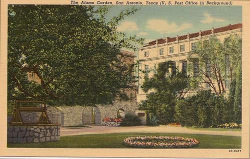 The Alamo Garden, San Antonio, Texas (U.S. Post Office in Background), Postcard