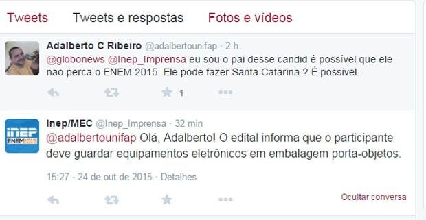 Inep respondeu a usuário que questionava critério de eliminação do Enem (Foto: Reprodução/Twitter)