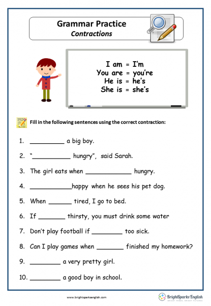 Contractions English Grammar Worksheet English Treasure Trove