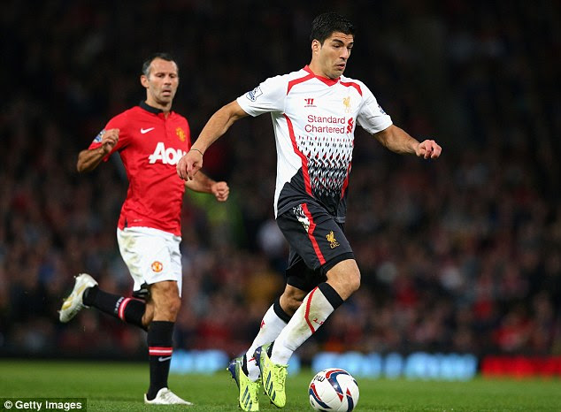 Finally: Luis Suarez was back in action for Liverpool as his side took on Manchester United