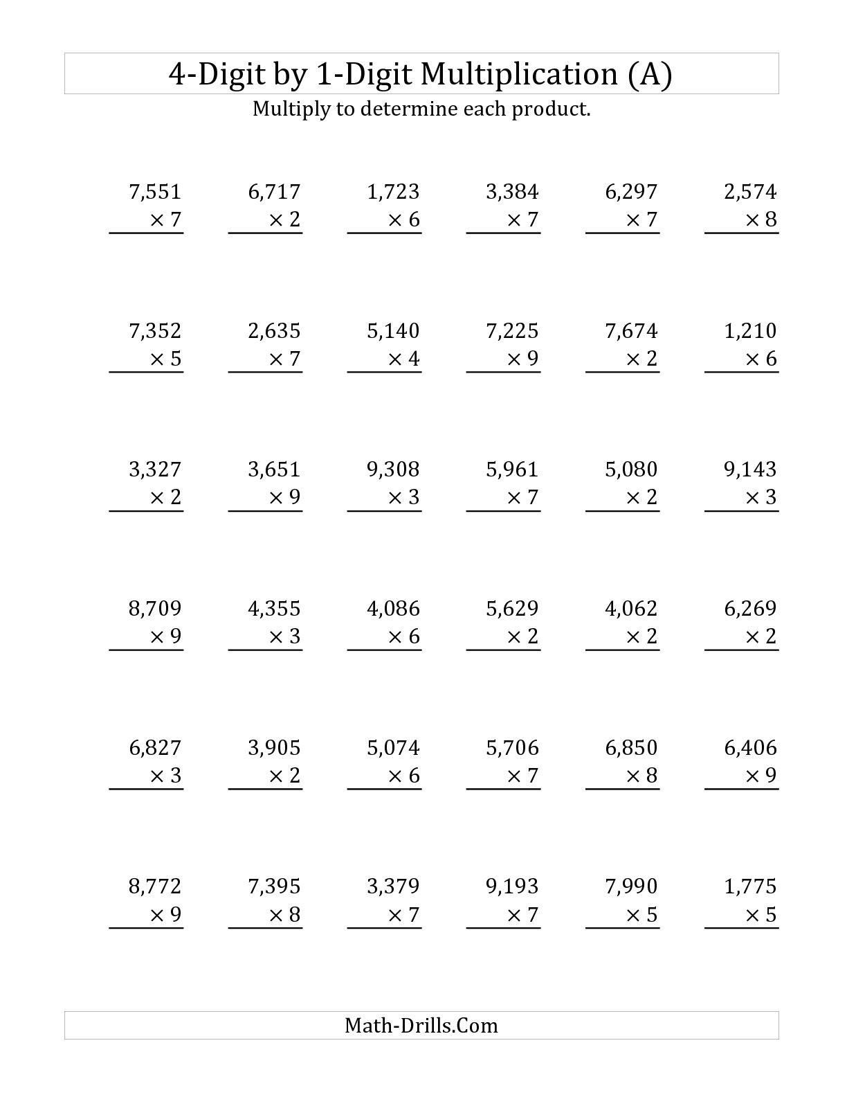 61 PDF MULTIPLICATION WORKSHEETS 1 DIGIT PRINTABLE ...