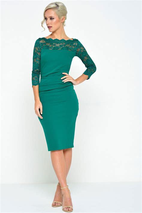 katherine lace neck midi dress  emerald green