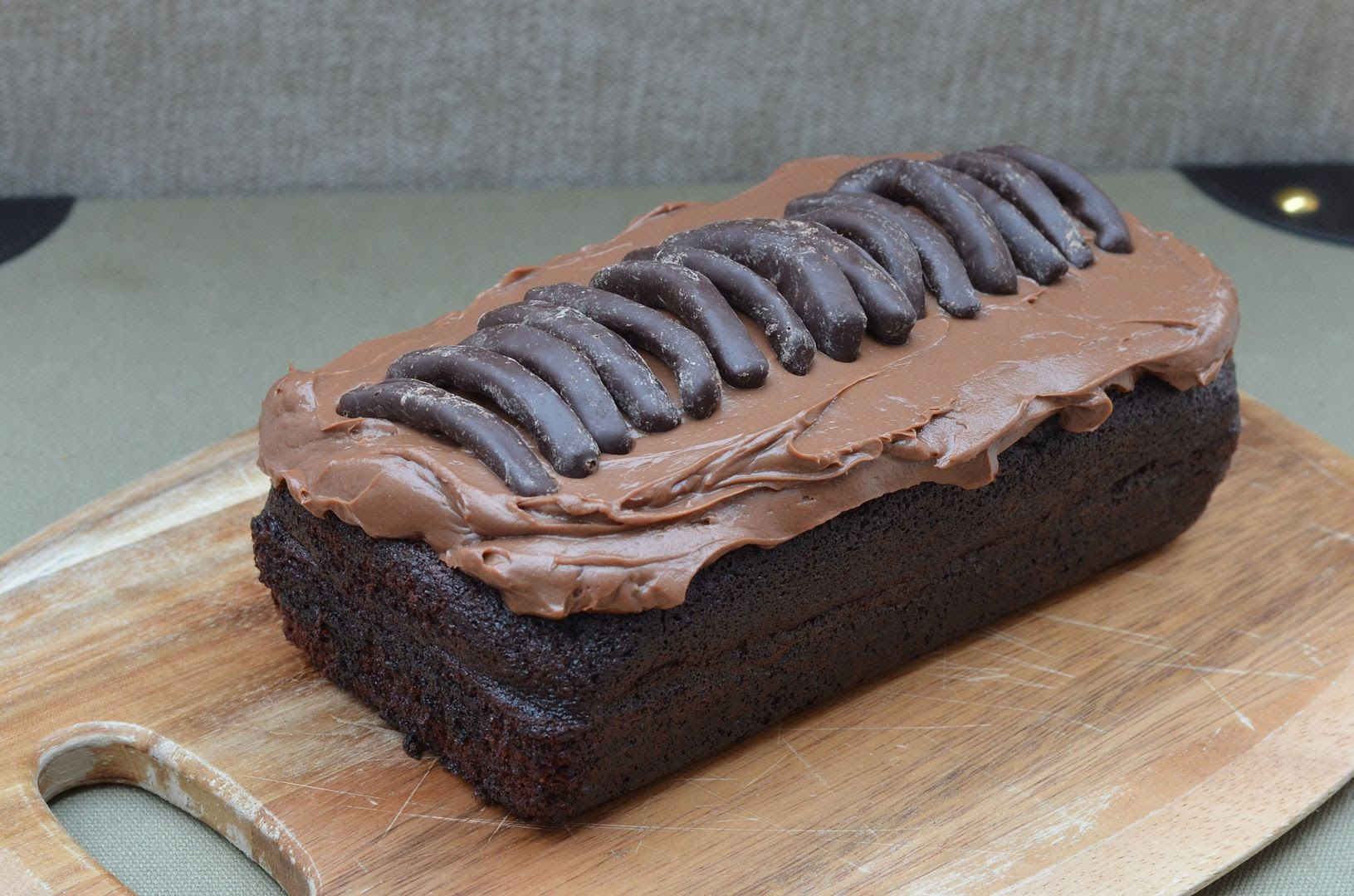 Rich chocolate loaf cake - a simple yet moist chocolate cakewith a cream cheese & Nutella frosting