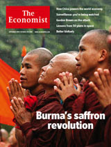 Current cover story: Burma's saffron revolution