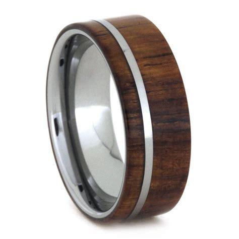 Tungsten Wedding Band, Honduran Rosewood Ring in Tungsten