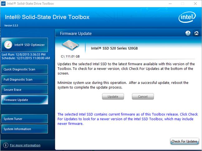 La caja de herramientas de la unidad de estado sólido Intel le permite realizar una actualización de firmware para las SSD Intel