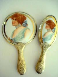 Antique Hand Mirror Brush Vanity Set Emerald Jewels