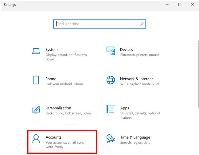 Haga clic o toque en Configuración de cuentas