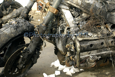 a motorcycle damaged by a fire