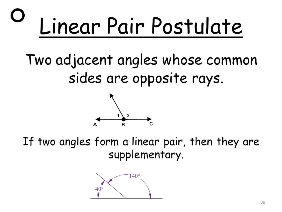 Linear+Pair+Postulate+Two+adjacent+angles+whose+common+sides+are+opposite+rays