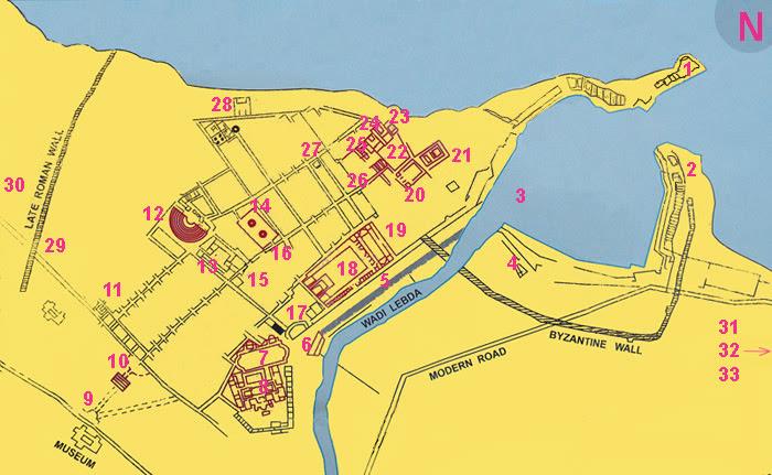 mapa de los sitios arqueológicos en Leptis Magna
