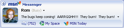 752 unread E-mail messages, caption 'The bugs keep coming!  AARRGGHH!!! They burn!  They burn!