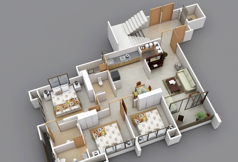 Gambar Rumah Tiga Dimensi Gambar Con