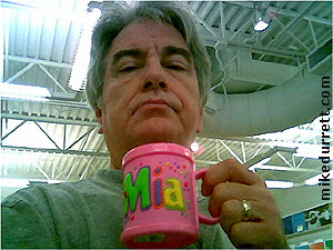 Photo: Mike with his personalized Mia mug.