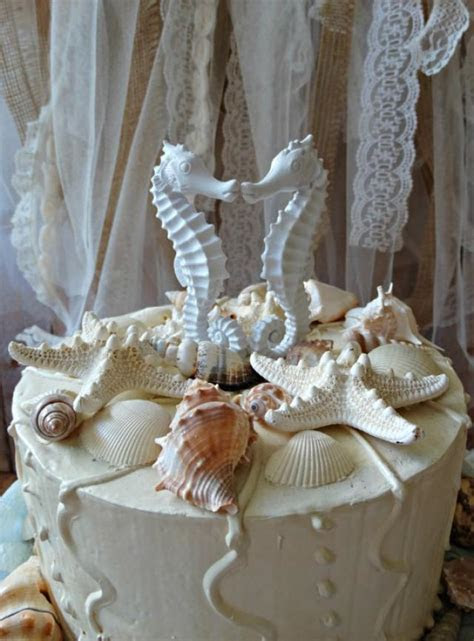 Seahorse Wedding Cake Topper Coral  Seahorse Cake Topper
