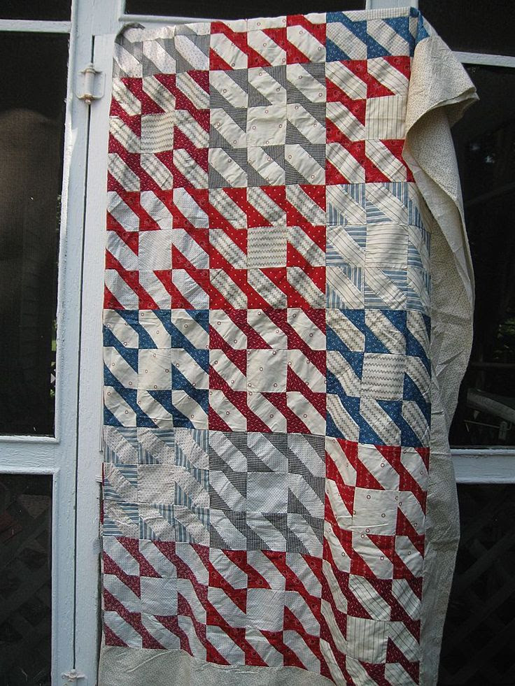 Patriotic 19th C. calico quilt top, Indian Hatchet design, Pennsylvania. Ragbaby Antique Textiles.