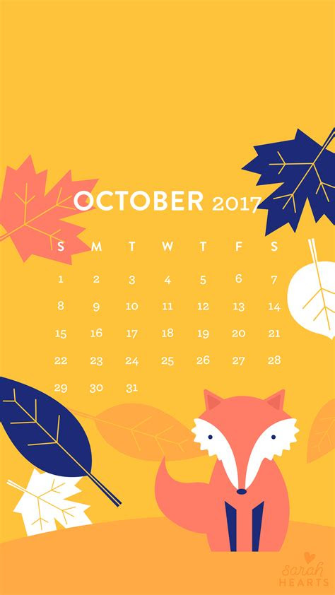 fall leaf  fox october  calendar wallpaper sarah
