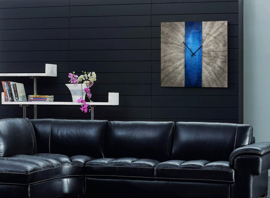 Modern Wall Clock Decor 'Blue Stripe Clock' 24x24 by ModernCrowd