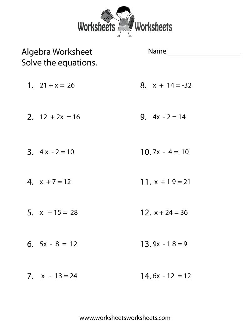 simple algebra worksheet printable