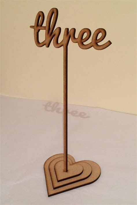 Script Style Wooden Table numbers/names with stake or