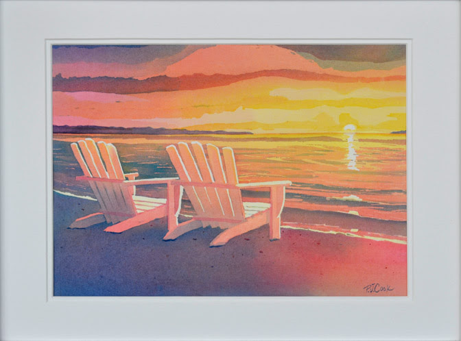 Sunset Painting Original Art Landscape Beach Adirondack Chair