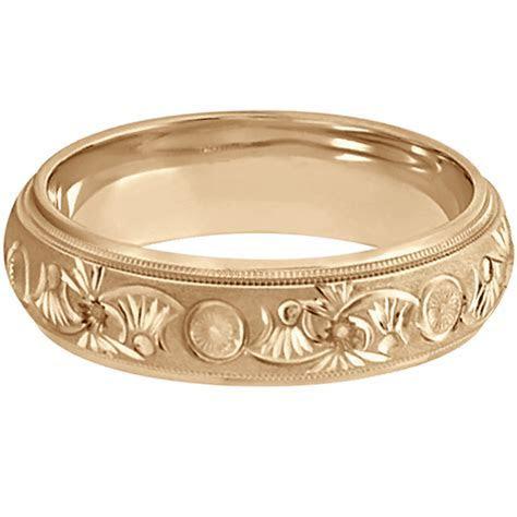 Hand Engraved Floral Wedding Ring in 14k Rose Gold (6mm
